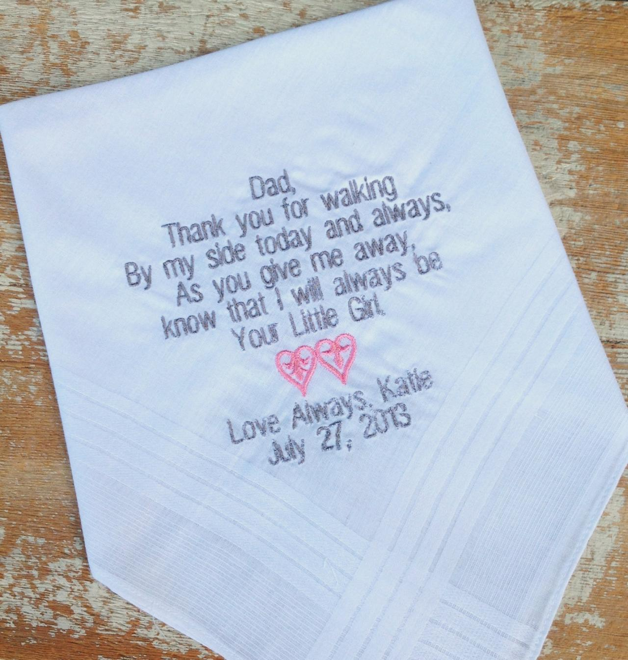 DAD from BRIDE Wedding heirloom handkerchief custom embroidered personalized hankie gift embroidery father daddy