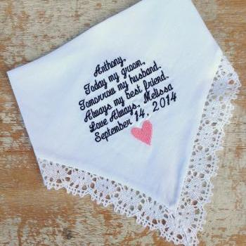 GROOM from BRIDE Wedding heirloom handkerchief custom embroidered personalized hankie gift embroidery husband fiancee