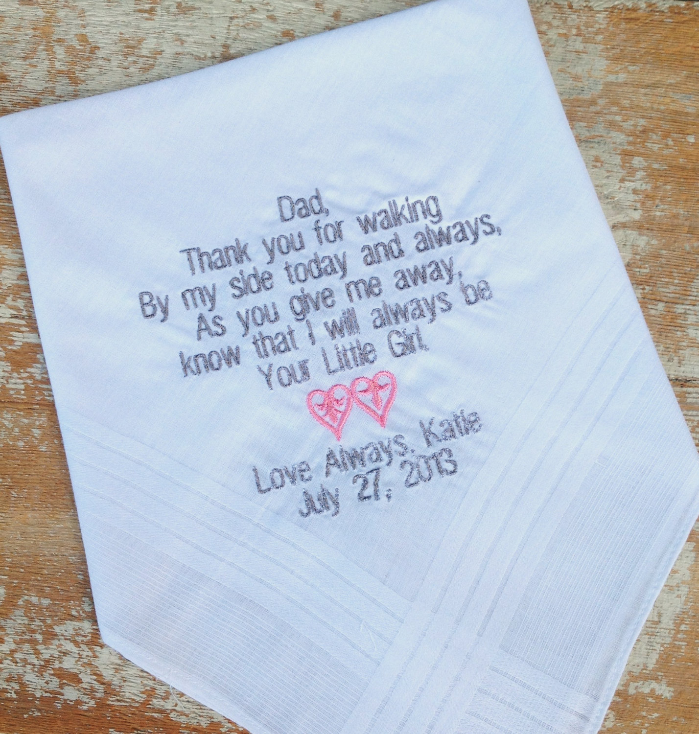 embroidered handkerchiefs wedding dad from bride wedding heirloom handkerchief custom embroidered personalized hankie gift embroidery father daddy from heirloom handkerchief custom embroidered